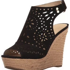 Marc Fisher Black suede wedge sandal shoes
